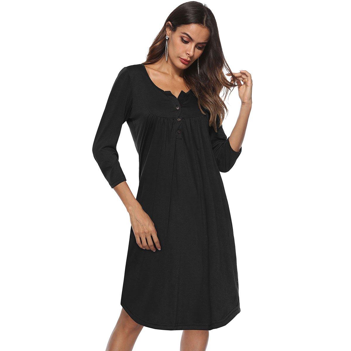 b8f2b967e82 Amazon.com  Greentree Women s Button up 3 4 Sleeve Casual Swing Simple  Loose T-Shirt Dress  Clothing