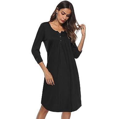 da1e3c2b496 Greentree Women s Button up 3 4 Sleeve Casual Swing Simple Loose T-Shirt  Dress