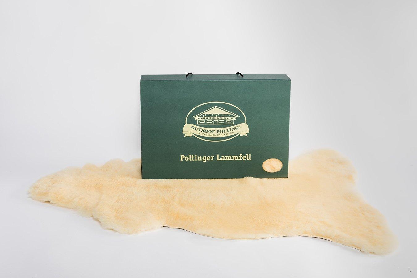 100% bayrisches Merino Lammfell aus eigener Schafhaltung, antiallergen, ökologisch gegerbt, geschoren, waschbar, 100-120cm, in Geschenkbox (Poltinger Lammell)