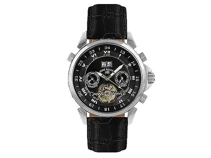 André Belfort 410022 - Reloj analógico de caballero automático con correa de piel negra - sumergible a 50 metros: Amazon.es: Relojes