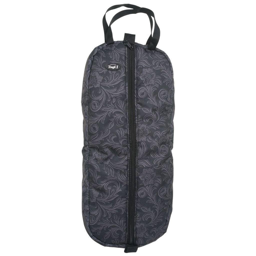 Tooled Leather Black Tough-1 Heavy Nylon Print Bridle Halter Bag Tooled Leather Print