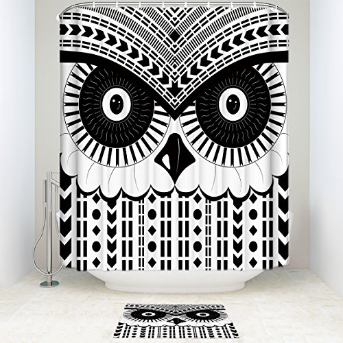 EZON-CH Customize Extral Large Waterproof Black White Owl Head Print Polyester Fabric Home Hotel Apartment Bathroom Shower Set Shower Curatin With Doormat Rugs 72x96IN (Shower And Black Owl Curtain White)