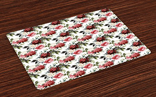 Ambesonne Shabby Chic Place Mats Set of 4, Country Style Floral Flower Roses Watercolor Image Art, Washable Fabric Placemats for Dining Room Kitchen Table Decor, Cream Dark Coral Maroon and Green by Ambesonne (Image #4)