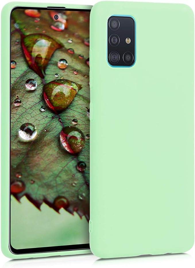 kwmobile Funda Compatible con Samsung Galaxy A51 Carcasa de TPU Silicona Protector Trasero en Azul turqu/í