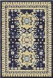 Classic Traditional Geometric Persian Design Area rugs Navy Blue 6' x 8' 11 Qashqai Heriz rug