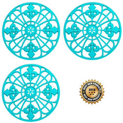 Silicone Trivets Set For Hot Dishes | Modern Kitchen Hot Pads For Pots & Pans | Fleur De Lis Design (Symbol of Royalty) Mimics A Cast Iron Trivet (7.5