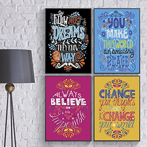 Shareable Posters An Unusual Friendship Gift, Set of FOUR 11X17 Inspirational, Inspiring & Motivational Phrases, Men and Women Inspiring Gifts, Wall Art, Educational Poster. Famous Sayings For Kids.