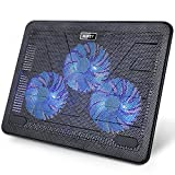 "Image of AUKEY Laptop Cooling Pad, 15.6""-17"" Laptop Cooler with 2 USB Ports and 3 Blue LED Fans for Laptops"