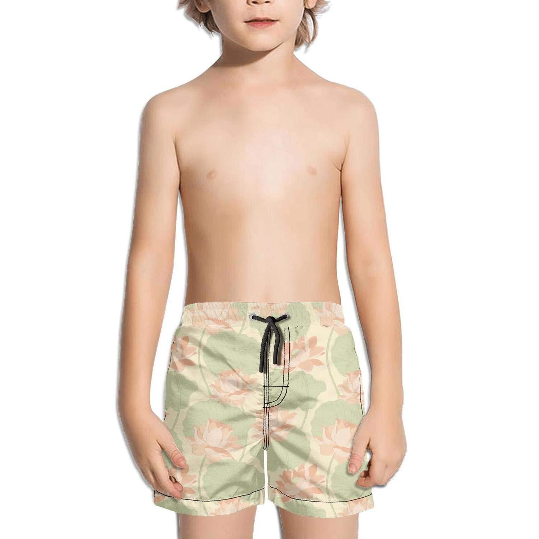 Lenard Hughes Boys Quick Dry Beach Shorts with Pockets Vintage Yellow Lotus Flower Swim Trunks for Summer