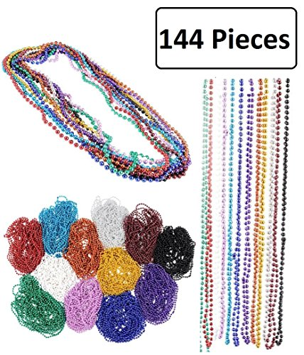Beaded Treasure (Mardi Gras Beads Necklace – 144 Pieces Metallic Bulk Party Favor Beaded Necklace for Kids and Adults- Perfect Dressing Up Costumes and Kids Fashion Accessories - By Kidsco)