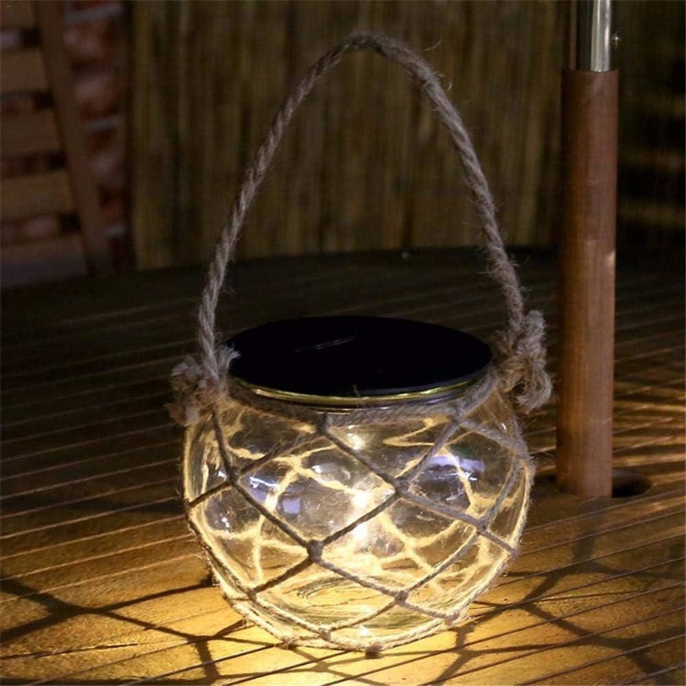 Minear Lampe /à LED Solaire en Verre avec Corde en Verre Blanc Chaud
