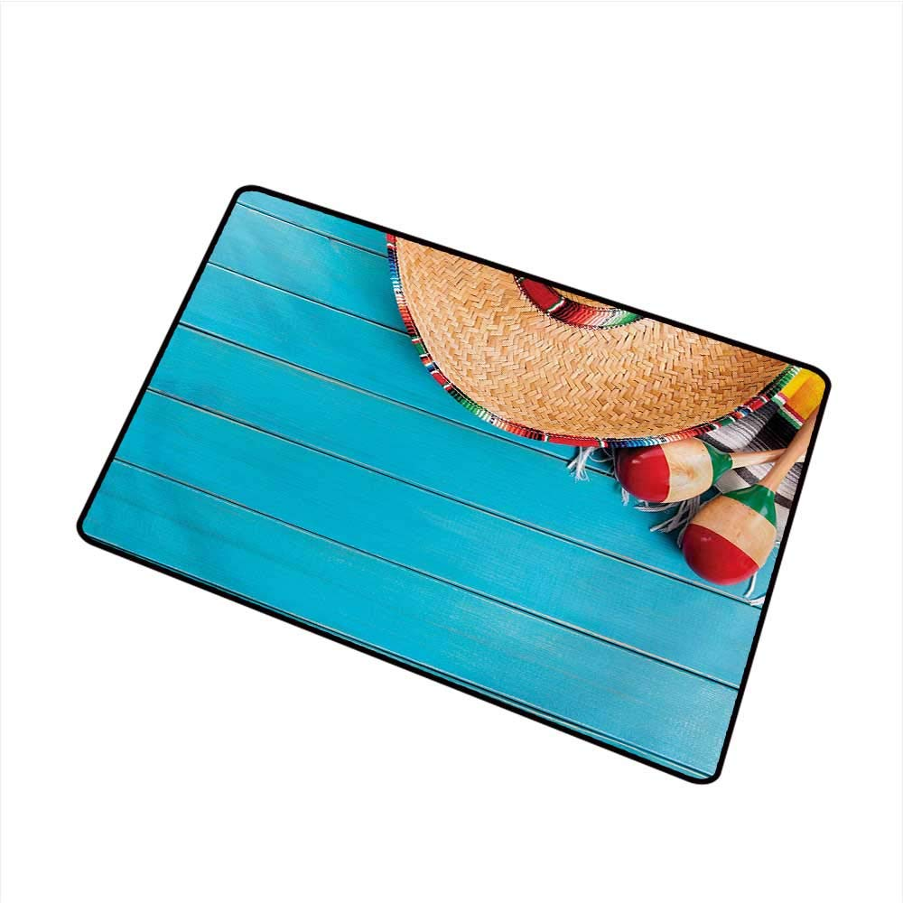 BeckyWCarr Mexican Front Door mat Carpet Native Latin Elements with Sombrero and Maracas on Wood Mexican Inspired Background Machine Washable Door mat W23.6 x L35.4 Inch,Blue Cream by BeckyWCarr