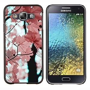 LECELL--Funda protectora / Cubierta / Piel For Samsung Galaxy E5 E500 -- El rosa deja la rama de árbol de arce --
