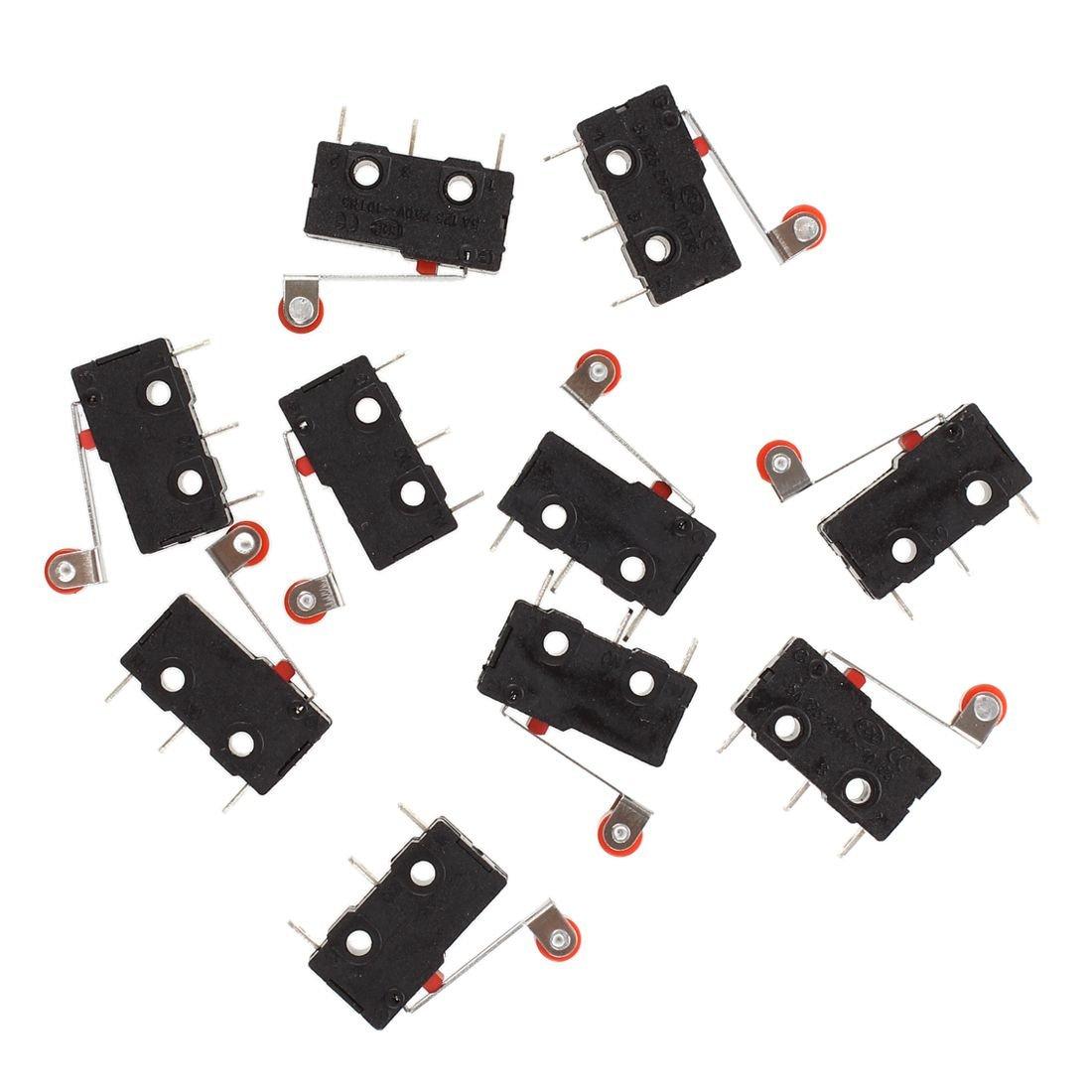 SODIAL(R) 10 Pcs Mini Micro Limit Switch Roller Lever Arm SPDT Snap Action LOT
