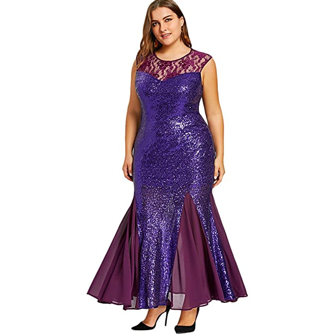 5be20d5322bd2 Langstar Plus Size Sequined Sleeveless Maxi Mermaid Dress(4XL ...