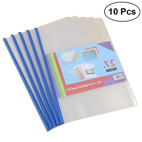 Toymytoy - Carpeta de archivadores de plástico transparente con barra deslizante para resumen, presentación de