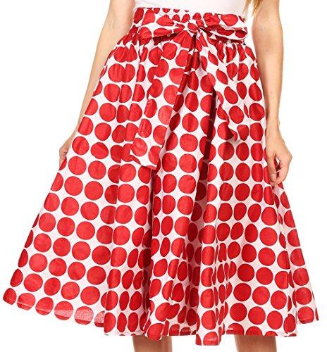 Sakkas W16521 - Mahina Wax Print Polka Dot Full Circle Elastic Waist Midi Skirt - Maroon - OS (Polka Dot Full Circle)