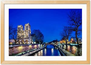 Notre Dame Cathedral Wood Color Frame Art Print Poster, Home Wall Decor(12x16 inch)