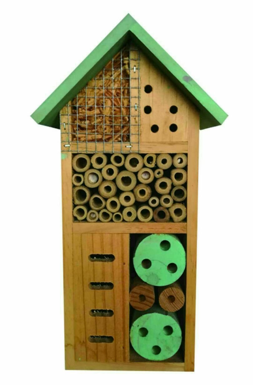 Heritage Fix On Insect Wooden Hotel Nest Home Bee Keeping Bug Garden Ladybird Box Hotel (2365 Green Small Insect Hotel) Heritage Pet Products