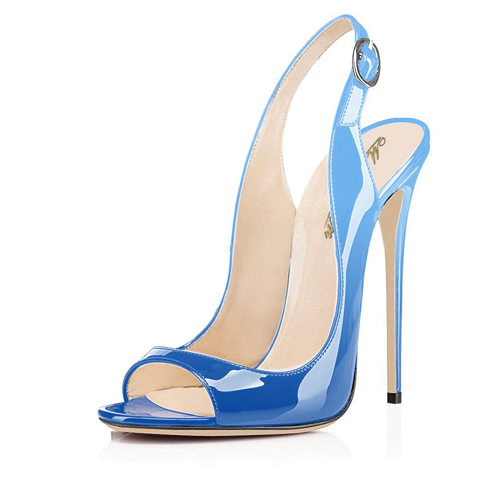 Modemoven Women's Patent Leather Pumps,Peep Toe Heels,Slingback Sandals,Evening Shoes,Cute Stilettos B071HHXKZC 5 B(M) US|Sky Blue