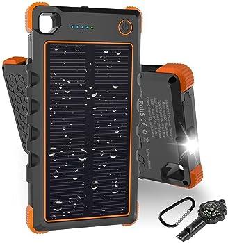 HOBEST 13500mAh Solar Charger, Outdoor Solar Power Bank (Orange)