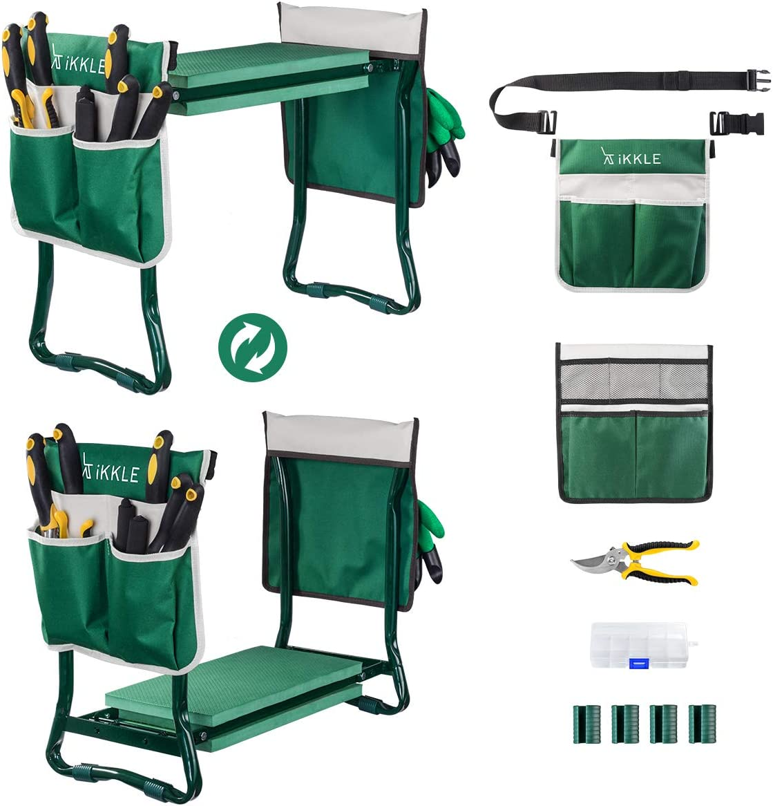 Garden Kneeler and Seat with Tool Pouches and Pruning Shears