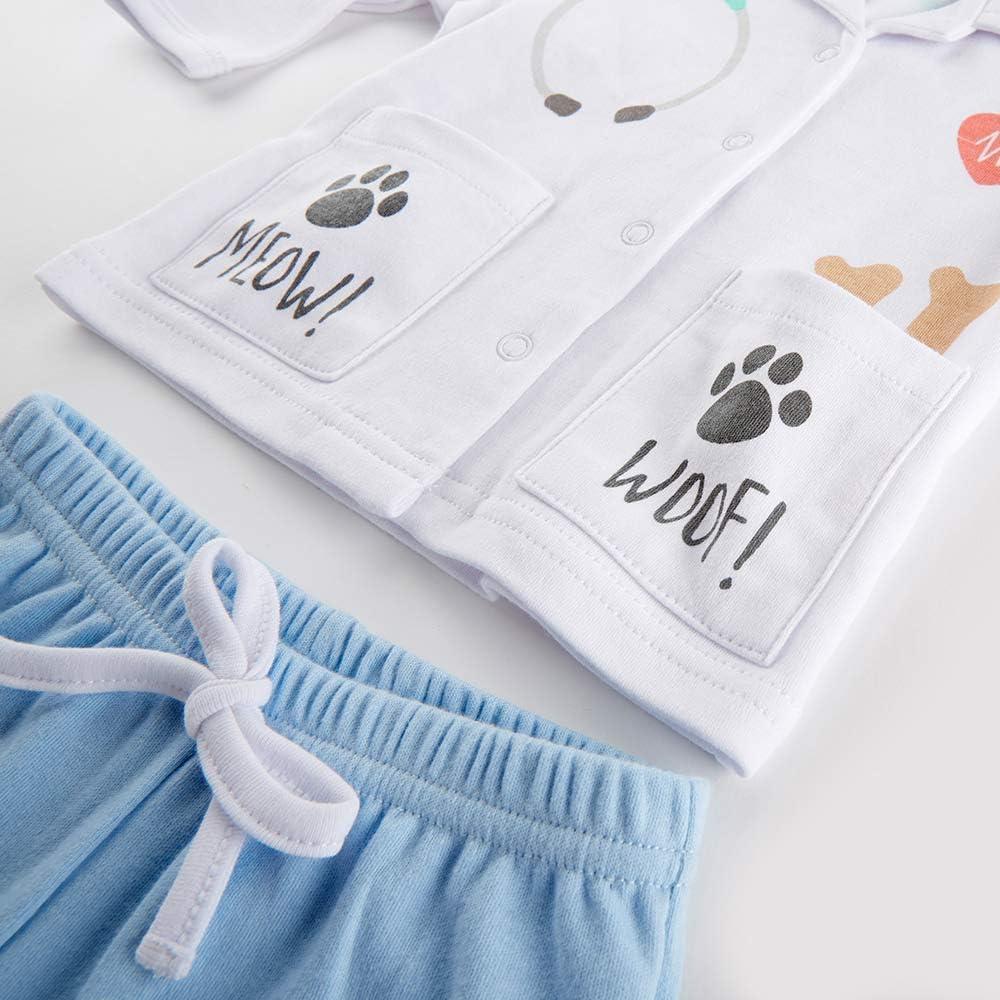 Baby AspenBig Dreamzzz Baby Veterinarian 2-Piece Layette Set White//Blue//Teal//Grey