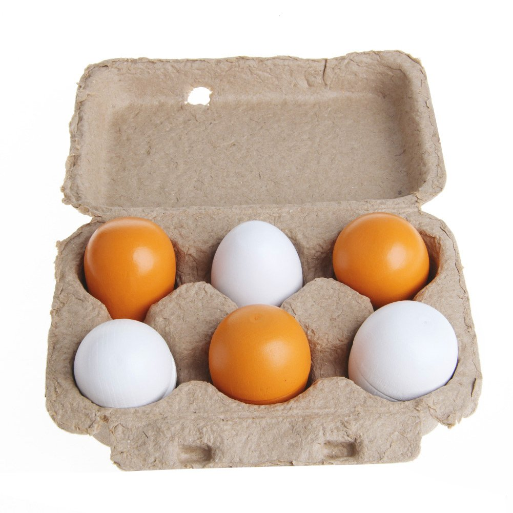Stebcece 6PCS Baby Kids Pretend Play Educational Toy Wooden Eggs Yolk Kitchen Cooking