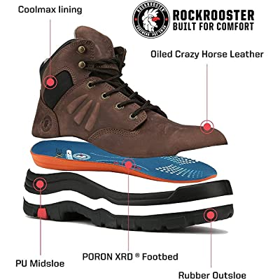 ROCKROOSTER Mens Removable Work Boots Insoles Shoe Orthotic Arch Support Footbed