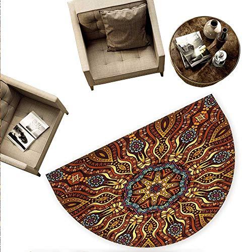 Ethnic Half Round Door mats Ethnic Mosaic Like Kaleidoscope Design with Floral Swirls Image Bathroom Mat H 74.8
