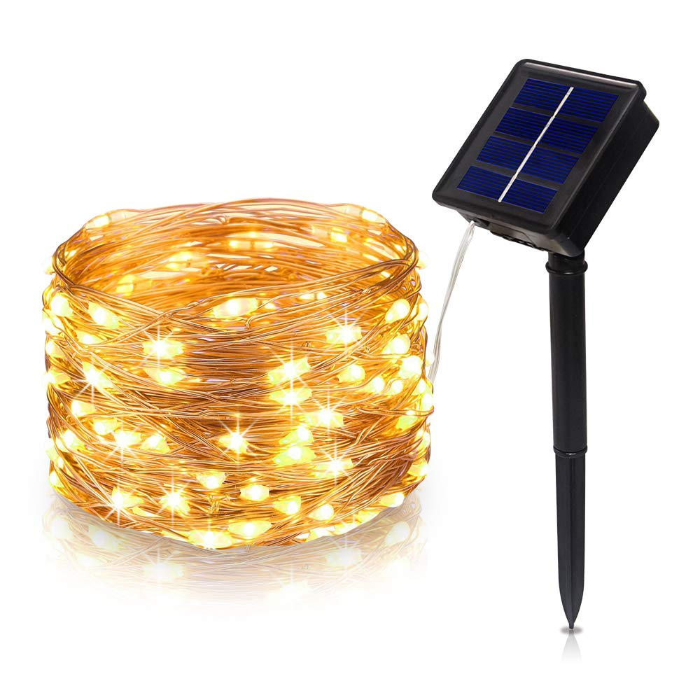 Tasodin Solar Powered Led String Lights 328ft 10m 100leds Warm White Copper Wire Strip 12v Dc Fairy Lighting Waterproof Bright Color Micro