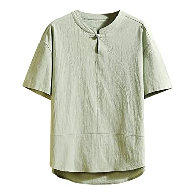 Camisetas Hombres Color Puro Manga Corta Verano Casual Sabana de ...