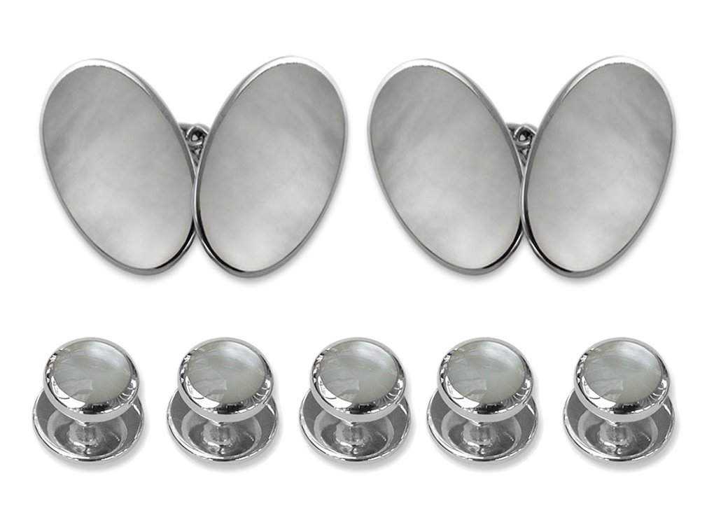 Sterling silver mother of pearl double-sided large oval Cufflinks Shirt Dress Studs Gift Set