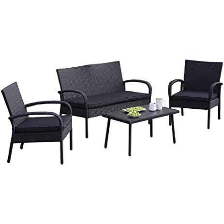 Carlota Furniture Patio Furniture Set, Ideal For Outdoor, 4 Piece Modern  Look Made
