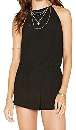 1a2192c2391c Spirio Women s Summer Rompers Sleeveless Shorts Solid Jumpsuits Black XS