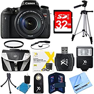 Canon EOS Rebel T6s Digital SLR Camera Bundle includes 18-135mm Lens, 32GB SD Card, Compact Gadget Bag, Mini Tripod, Full Size Tripod, Protective Filter Kit, Card Reader and much more!