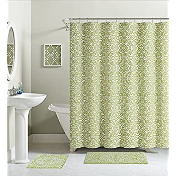 Green White Damask Cotton Fabric Shower Curtain