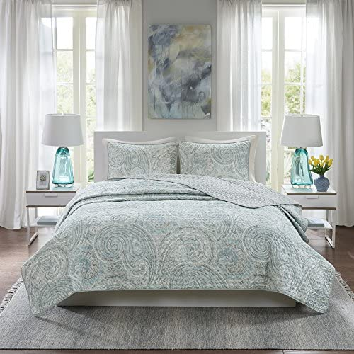 Comfort Spaces Kashmir Hypoallergenic All Season Lightweight Filling Paisley Print Girls 3 Piece Quilt Coverlet Bedspread Bedding Set King/Cal King Blue Grey