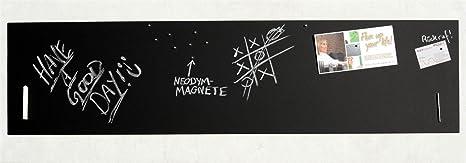 Große Pinnwand/Pinwand/Magnet-Tafel in 110 x 30 cm, mit 1x Kreide und 20 Stift - Magneten: Magnetpinnwand mit Tafelkreide-Obe