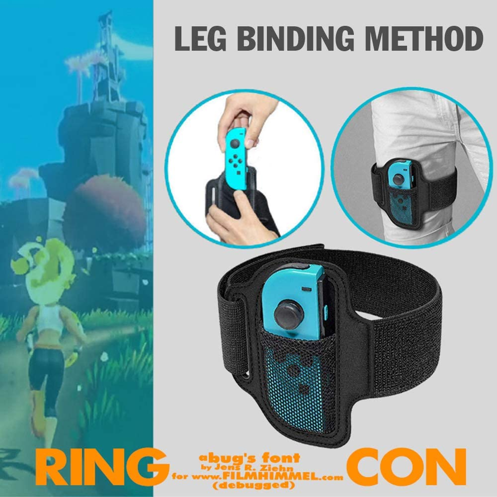 FANMU - Anillo de fitness para Nintendo Switch NS Joycon, Ring Fit Aventura, Ring-Con empuñaduras y correa de fijación de piernas, correa elástica ajustable para la pierna, anillo de fitness NS Switch: