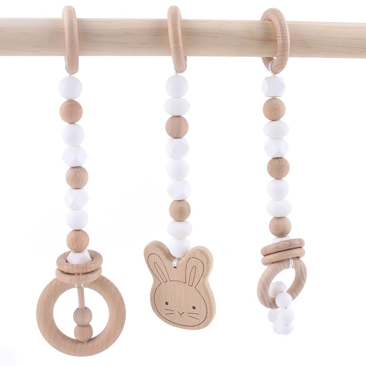 baby tete Dentition en Bois Jouet pour Tout Petit Nursing Play Gym Perles en Silicone Hochets Pendentif Animaux 3pcs Sans BPA Qualité Alimentaire Série Rose