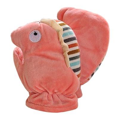 1 Pair Kids' Winter Glove Villus Mittens Haling Hands(0-3 Years)Hippo Pink