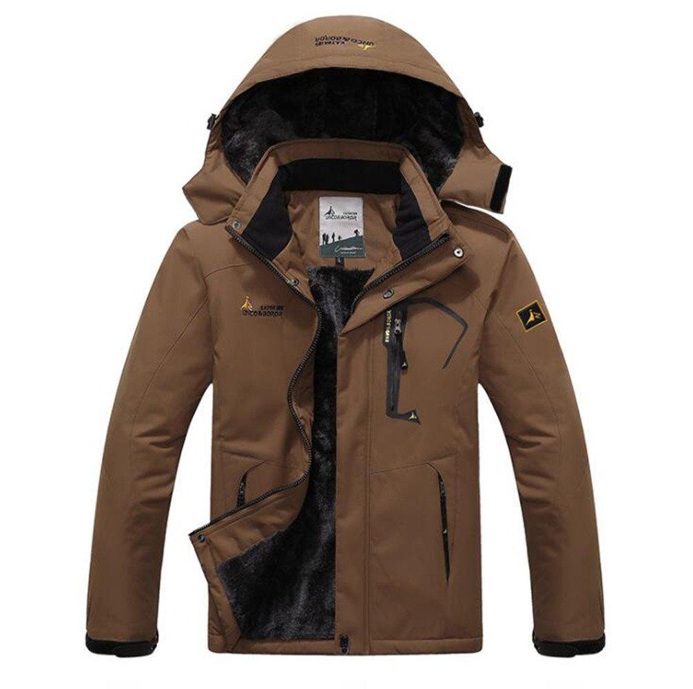 Men Plus Velvet Warm Windproof Coats (Brown, X-Large)