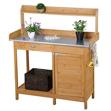 Magnificent Outdoor Wooden Garden Work Bench Station Galvanized Metal Tabletop With Drawer Cabinet And Open Storage Shelf Solid Cedar Wood Construction Potting Creativecarmelina Interior Chair Design Creativecarmelinacom