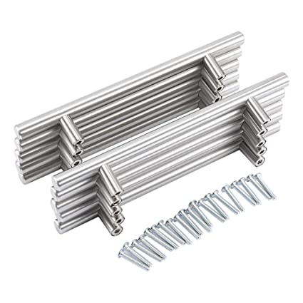 20Pcs Tiradores Perillas para Muebles Cepillado, Acero Inoxidable Barra de T Asas Tirador de Mueble Manija del Armario Alacena de Cocina Puerta