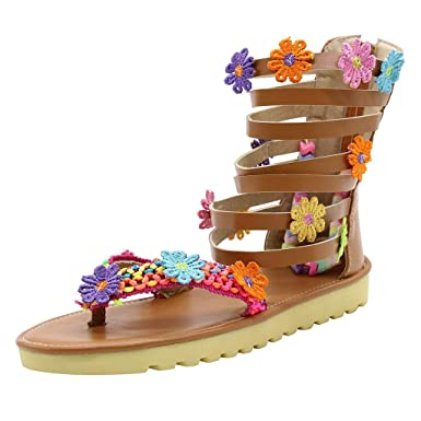 c028545d2a227 Amazon.com: Claystyle Womens Bohemian Flat Print Ankle Strap Summer ...