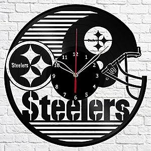 "Pittsburgh Steelers Football Team Vinyl Record Wall Clock Fan Art Handmade Decor Original Gift Unique Decorative Vinyl Clock 12"" (30 cm)"