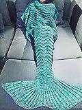 "Handcrafted Mermaid Tail Blanket Crochet Knitting Sofa Blanket Rug Soft Sleeping Bag for Adult Teens (80.0"" x 34.6"", Green)"