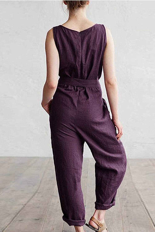 Suvimuga Women Jumpsuits Summer Sleeveless Tie Waist Pocket Long Pants Rompers