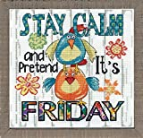 Design Works Crafts 2992 Stay Calm, 10'' X 10'' Counted Cross Stitch Kit, Stay Calm